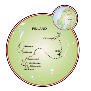 Norte e Lapônia Ocidental da Finlândia Map