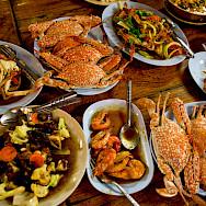 Seafood on the Thailand Bike Tour.