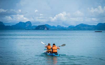 Kayaking on the Thailand Bike Tour.
