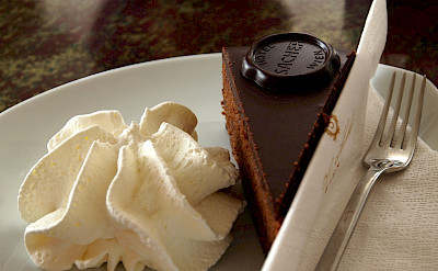 Real Sacher torta to try at Hotel Sacher in Vienna, Austria. Flickr:Paul Barker Hemings