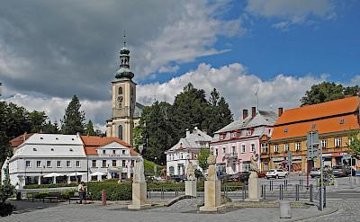 Main square in Krásná Lípa, Czech Republic. Creative Commons:schiDD
