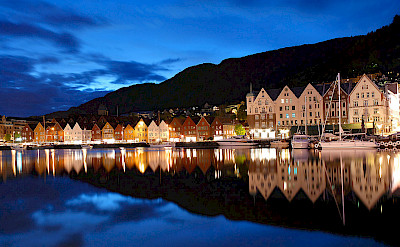 Beautiful Bryggen at night in Bergen, Norway. Wikimedia Commons:Pssmidi