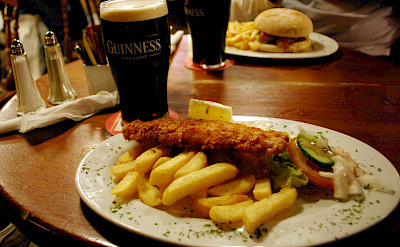 Traditional Irish fish & chips with a Guinness. Flickr:Laura LaRose