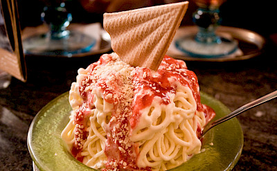 Spaghetti ice cream in Trier, Germany. Flickr:Christian Cable