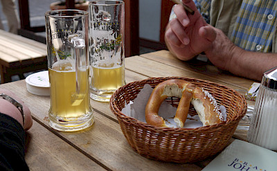 Beer and pretzels, common German treats. Flickr:yortw