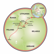 Borderland of Lithuania, Poland & Belarus Map