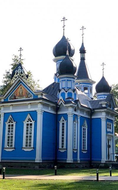 Druskininkai Church on the Borderland of Lithuania, Poland, & Belarus Bike Tour.