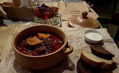Traditional food in Grodno, Belarus.
