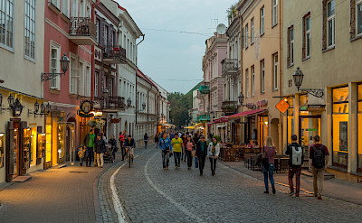 Pilies Street at dusk in Vilnius, Lithuania. CC:Diliff