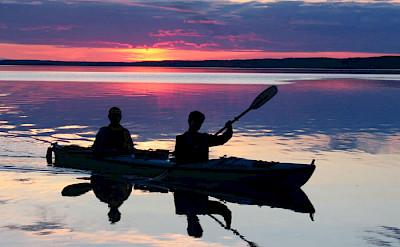 Sunset kayaking at the backcountry of Kenai, Alaska.