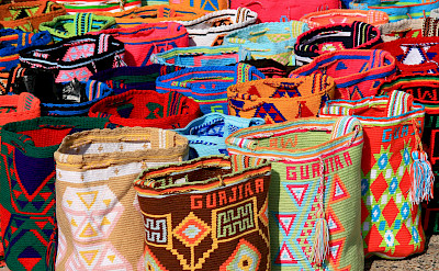 Wayuu handcrafted mochilas woolen bags for sale in Riohacha, Colombia. Flickr:Tanenhaus