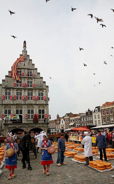 The famous cheese market in Gouda, South Holland, the Netherlands. Flickr:bert knottenbeld
