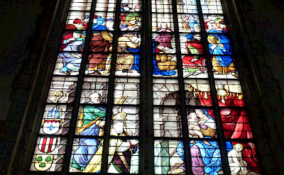 The renowned stained-glass windows at Sint-Janskerk, Gouda, South Holland, the Netherlands. Flickr:Taco Witte