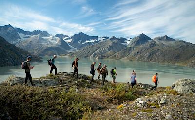 Ridge hiking in Glacier Bay National Park, above Lamplugh Glacier, Alaska. ©TO