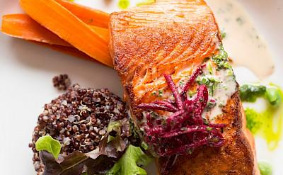 Salmon dinner on board in Alaska. ©TO