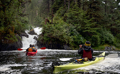 Kayaking to waterfalls in Patterson Bay, Alaska. ©TO