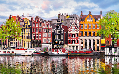 Colorful row houses in Amsterdam, North Holland, the Netherlands.
