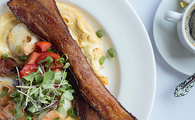Alaskan prawn fritatta with bacon, Alaska cruise. ©TO