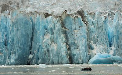 Skiff ride in front of Dawes Glacier, Alaska. ©TO