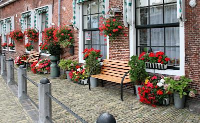 Beautiful brick architecture & flowers in Sneek, Friesland, the Netherlands. Flickr:bert knottenbeld