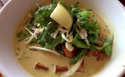 Coconut curry noodles in Walla Walla, Washington. Flickr:Isha Zubeidi
