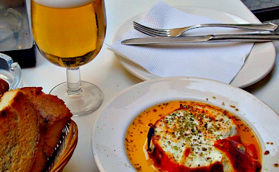 Baked goat cheese with beer in Spain! Flickr:Evan Bench