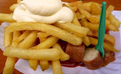 Currywurst & fries, a favorite in Germany! Flickr:WordRidden