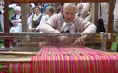 Women weaving at Dzūkija National Park in Lithuania.