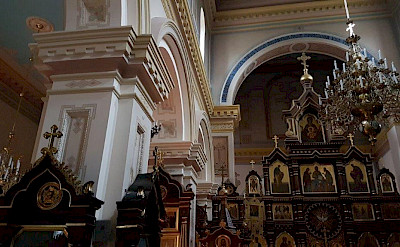 Interior of an Orthodox Church in Grodno, Belarus.