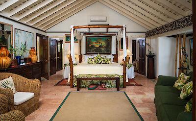 Mahogany Hill Master Bedroom With White Walls