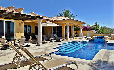 Agave Azul Luxury Villa Rental In Cabo Del Sol Lifestyle Villas View Of Pool Area Towards House On Fairway L