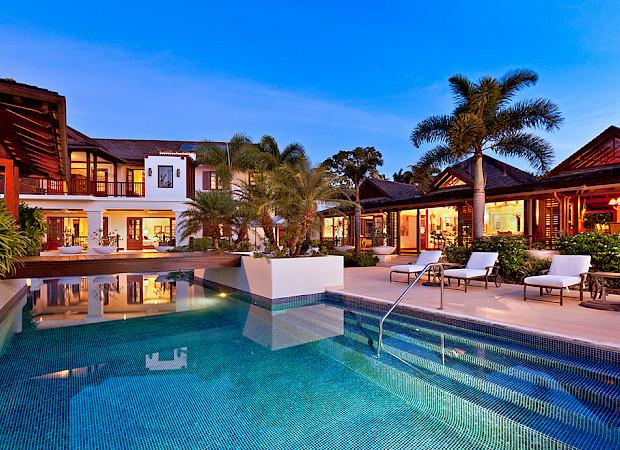 Villa Sandy Lane Feb Rear Exterior Over Pool Twilight