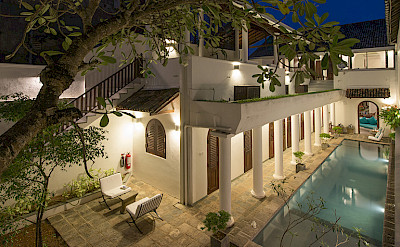 Ambassadors House Galle Pool Aerial At Night