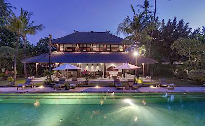 Villa Pool House At Dusk