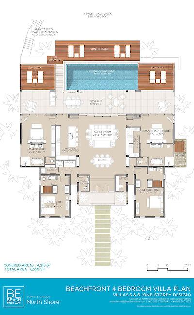 Be North Shore Floorplan 4 Bed Beachfront Villa 5