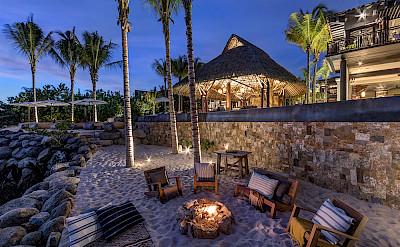 Sand Terraces And Firepit Dusk