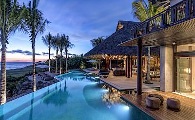 Pool Palapa And Deck Sunset