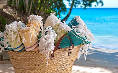 Cs Beach Towels In Basket Detail