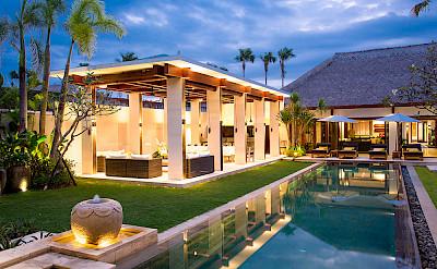 Villa Pool And Villa Lit Up