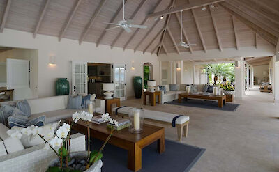 Jumby Bay Island Private Residences Sandpiper Beach House Living Room 5