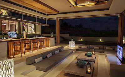 The Iman Villa Bar And Living Area At Night
