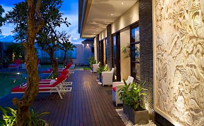Villa Lega Poolside Deck At Night