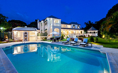 Lrg Dalmeran Properties Jul Rear Exterior Twilight Over Pool