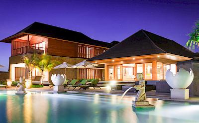 Villa Pool And Villa At Night