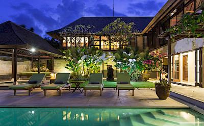 Villa The Villa Lit Up At Night